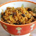 The perfect side dish for Mexican night is this recipe for Mexican rice loaded with black beans, green peppers and spices. | livinglou.com