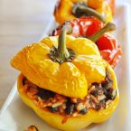 Vegetarian stuffed peppers on a white plate