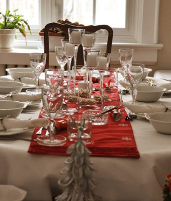 A dining room table set for a family christmas