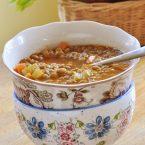 Lentil soup in a floral bowl