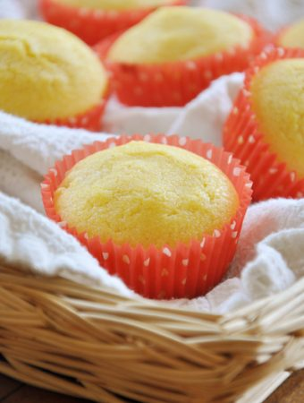 Corn muffins in a wicker basket