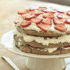 Chocolate pavlova on a cake stand