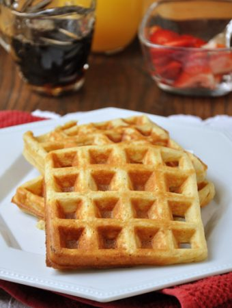 Gluten Free Belgian Waffles are fluffy and sweet just like normal waffles and are the perfect gluten-free brunch recipe to make for guests. | livinglou.com
