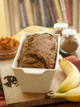 Pumpkin banana bread in a loaf pan