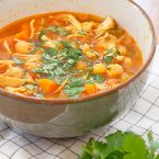 Inspired by Joey's restaurant and the spices of Morocco, this Moroccan chicken soup uses a combination of chickpeas, chicken and carrots for a healthy and deeply flavourful soup.   LIvinglou.com