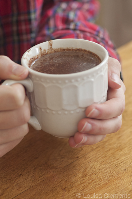 A simple and rich recipe for hot cocoa perfect for a snow day with a touch of cinnamon, vanilla and a combination of semisweet and bittersweet chocolate. | livinglou.com