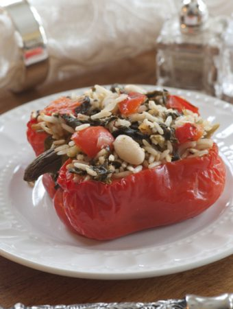 Stuffed pepper with Cookin' Greens and rice