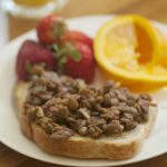 Baked lentils on toast