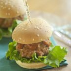 barbecue turkey meatball sliders with lettuce on a plate