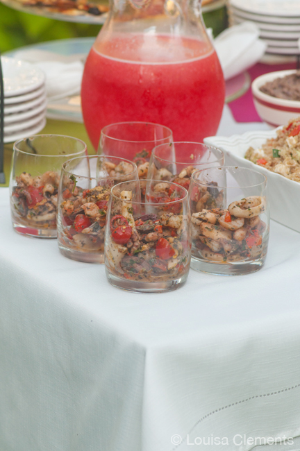 seafood salad served in glasses
