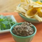 black bean dip in a bowl with corn chips