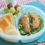 corn flake crusted chicken strips in a lunch container