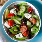 A serving bowl of Greek salad