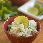 Cilantro Lime Rice in a red bowl