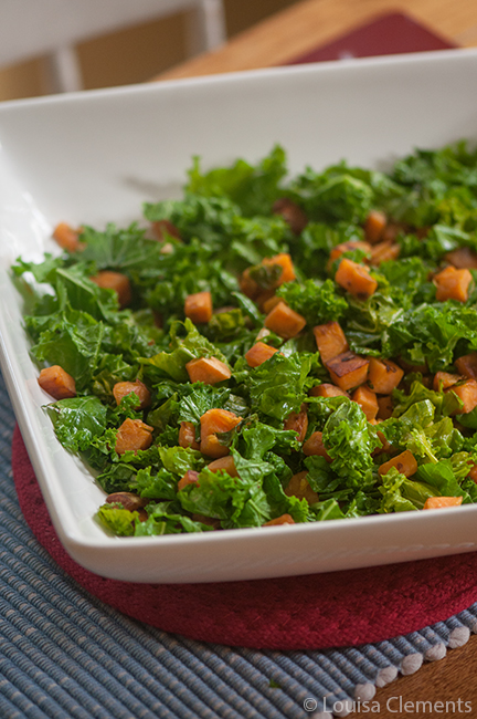 Sautéed kale and sweet potatoes