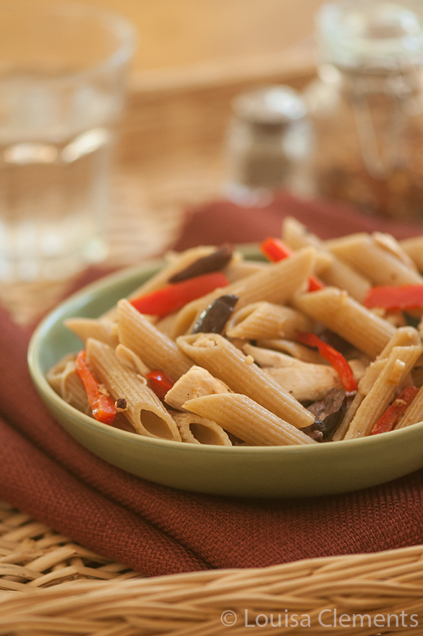 Roasted Red Pepper and Olive Pasta