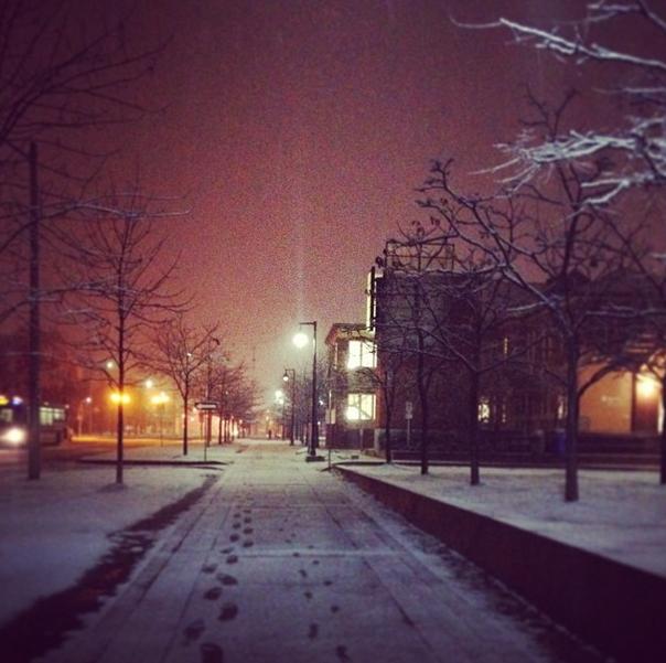 Leaving campus at night