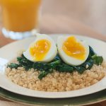 Soft Boiled Egg with Quinoa and Spinach
