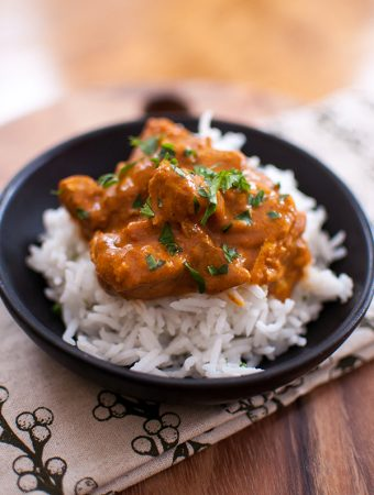 Skip the Indian take-out and try this easy slow cooker butter chicken that is made in your crockpot with coconut milk, ginger and a blend of Indian spices. | livinglou.com