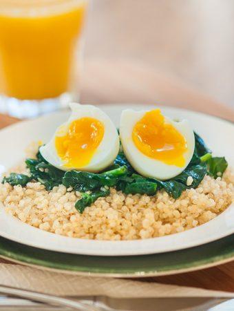 Soft Boiled Egg over Quinoa & Spinach