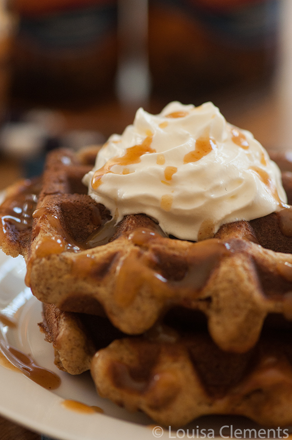 Beer battered waffles with spicy beer caramel sauce