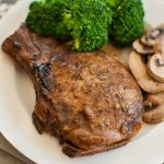 Sage and Balsamic Glazed Pork Chops with broccoli and mushrooms