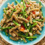 Asparagus and White Bean Pesto Pasta is the perfect light spring vegetarian dinner. | livinglou.com