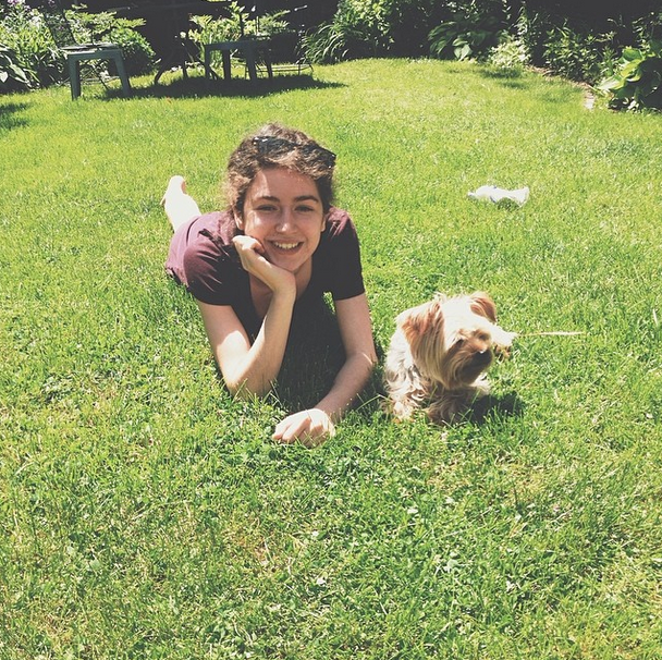 Lou and Sophie in the backyard
