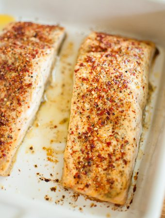 peri-peri and walnut mustard salmon