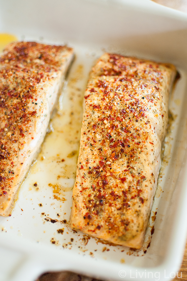 peri-peri and walnut mustard salmon