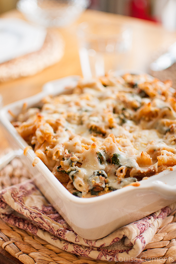 kale and sausage baked pasta