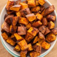 cinnamon chili roasted sweet potatoes