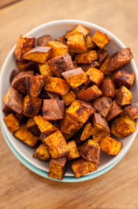 Cinnamon Chili Roasted Sweet Potatoes