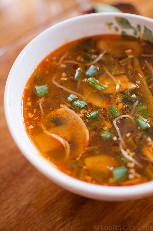 Enjoy a light dinner with this simple vegetarian soup. Spicy Ginger Scallion Soup is ready in just 20 minutes!   livinglou.com