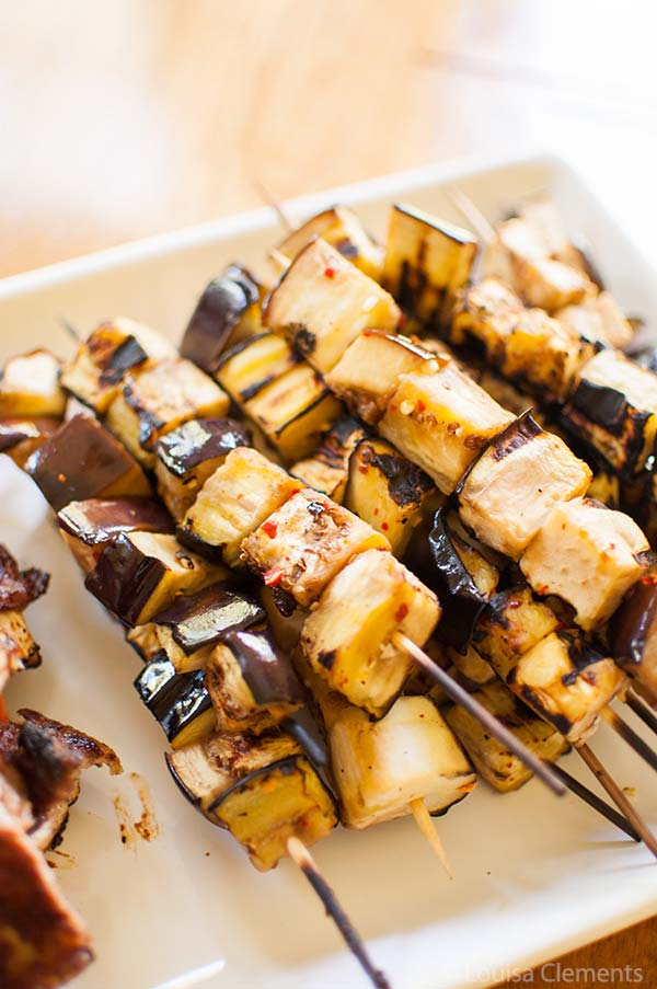 Grilled eggplant skewers are a great vegetarian barbecue option. via livinglou.com