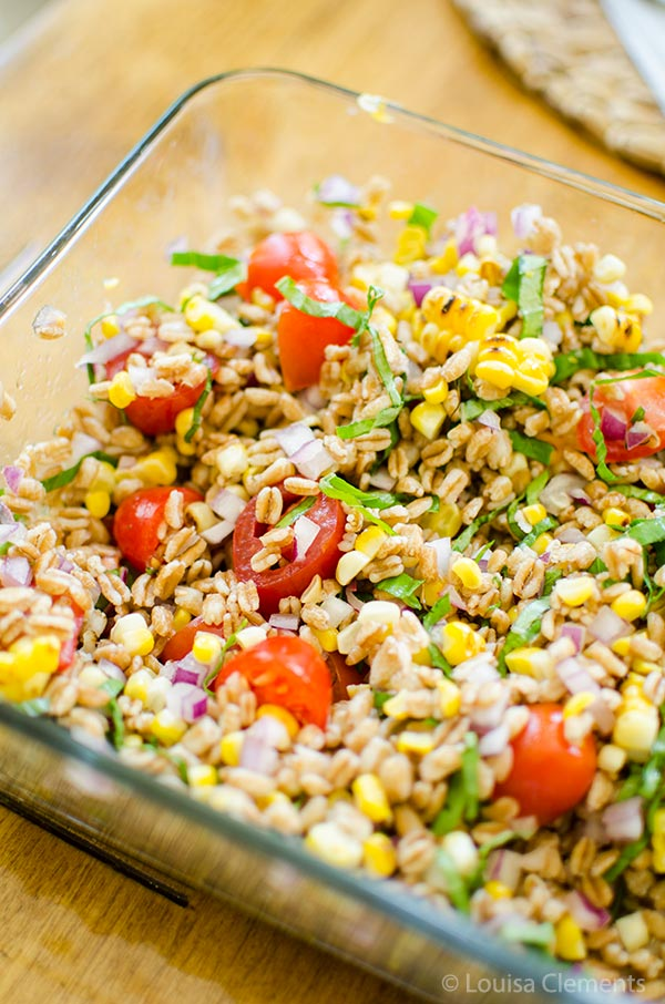 ... charred corn and farro salad. Loaded with cherry tomatoes, basil, and