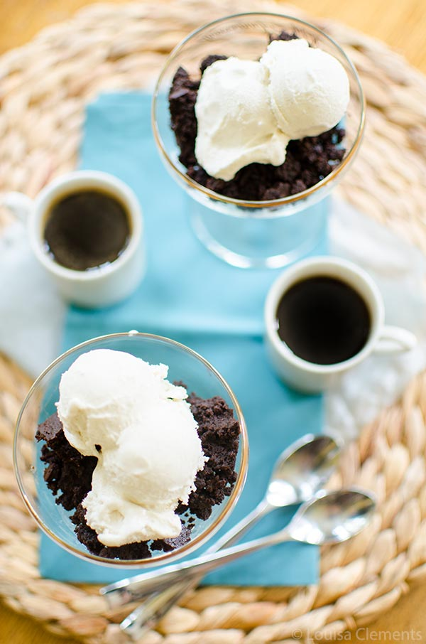 Dark chocolate brownie affogato is the ultimate Italian dessert.   livinglou.com