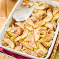 A simple and delicious brunch for fall, baked apple french toast will please any crowd. | www.livinglou.com