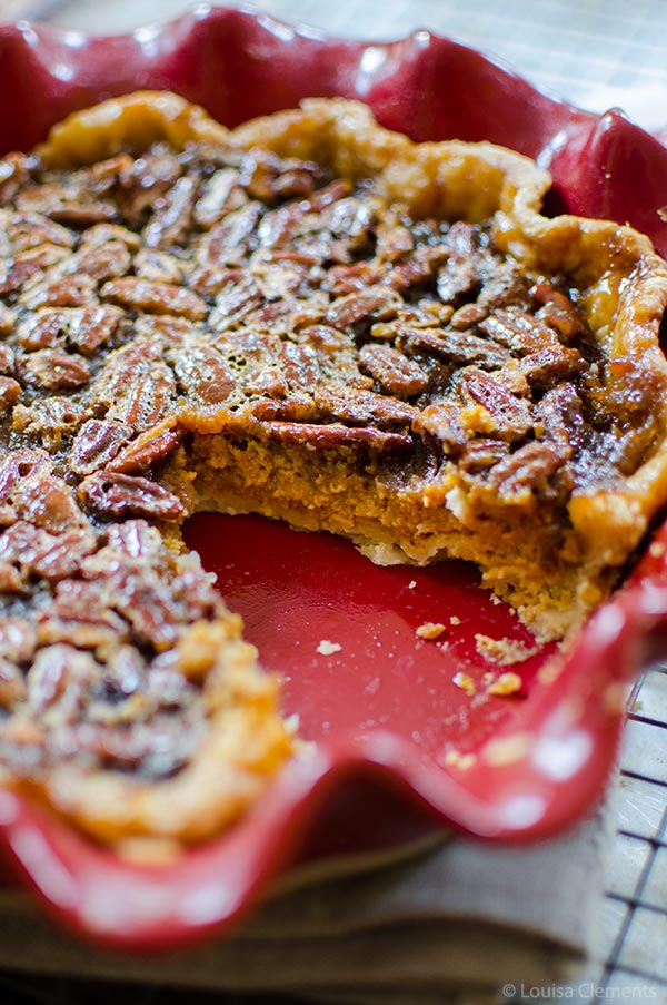 Combine everyone's two favourite pies for a decadent pumpkin pecan pie. The bottom layer is pumpkin and the top layer, a gooey pecan.   livinglou.com