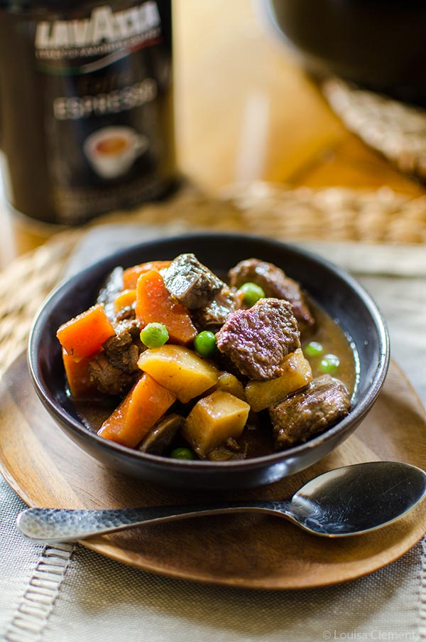Slow cooker beef stew gets a little something special with the addition of espresso. | livinglou.com