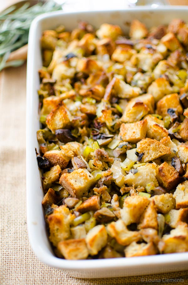 on traditional holiday stuffing made with sourdough bread, sausage ...