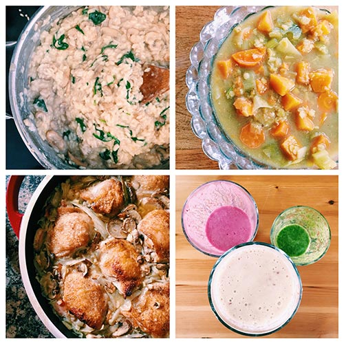 Preview of recipes to come: smoothies, roast chicken, risotto and lentil soup.