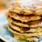 This recipe makes the best chocolate chip pancakes with a combination of milk chocolate, semisweet chocolate and white chocolate chips plus lemon zest.   livinglou.com