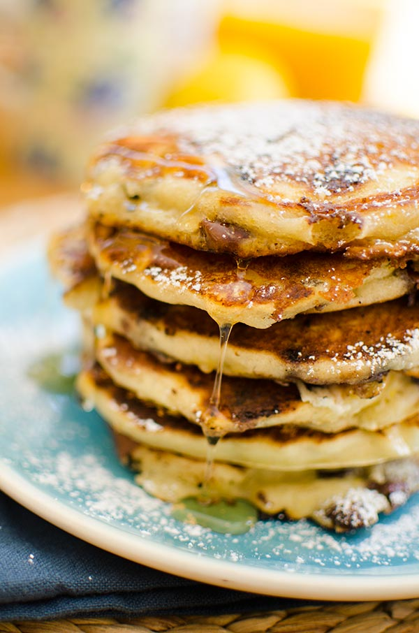 This recipe makes the best chocolate chip pancakes with buttermilk and a combination of milk chocolate, semisweet chocolate and white chocolate chips plus lemon zest.