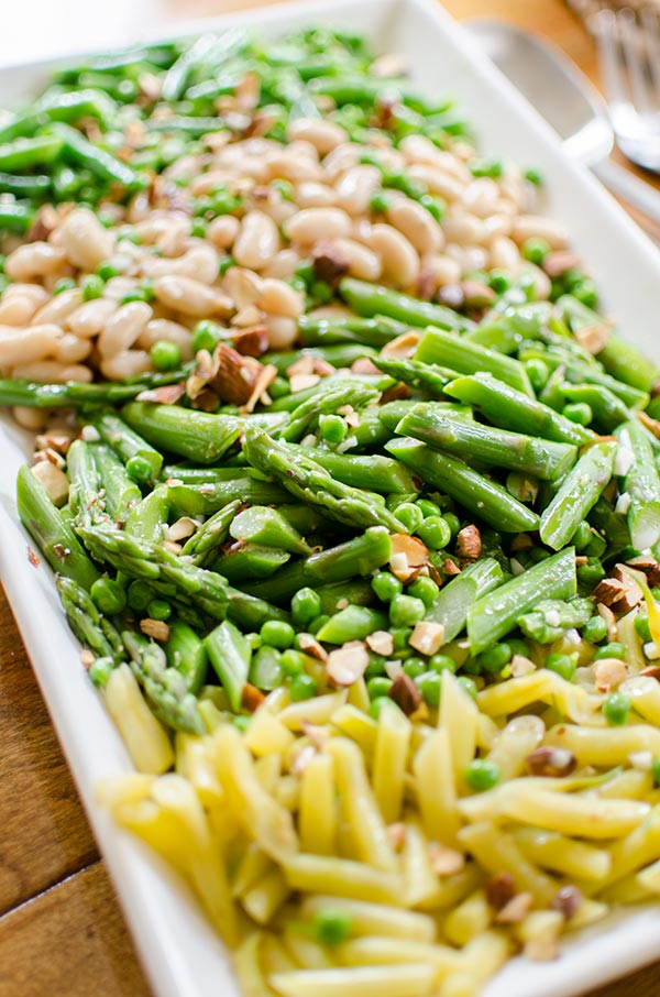 "Three-bean garden salad with asparagus and coconut dressing from ""Whole Bowls"" 