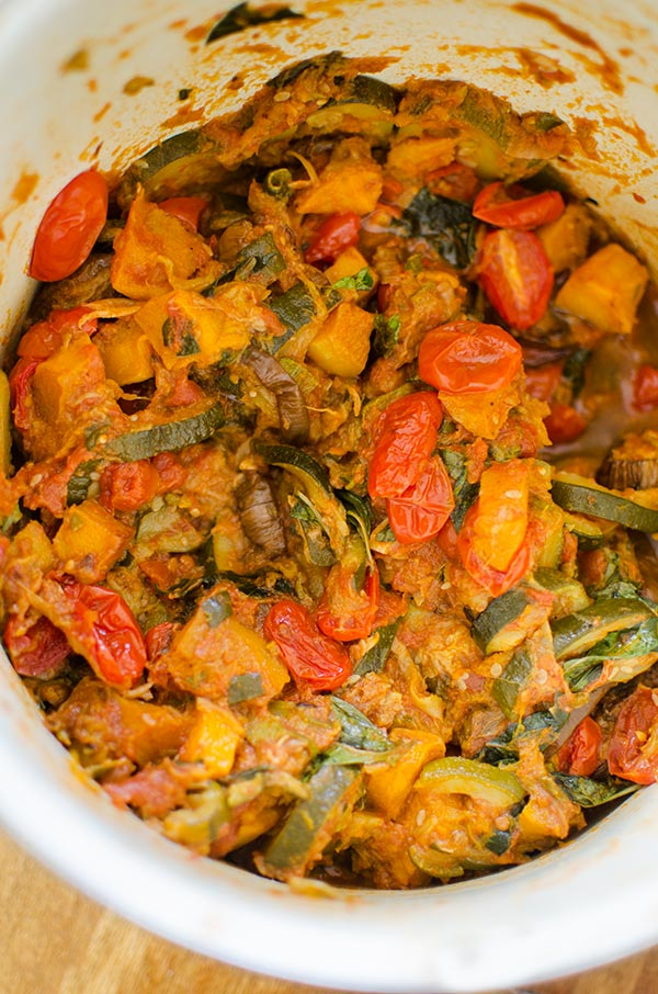 Nina Parker's French ratatouille with zucchini, eggplant, butternut squash and tomatoes. | livinglou.com
