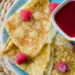 Crepes with raspberry sauce