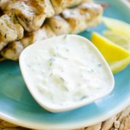 An authentic Greek recipe for tzatziki sauce with cucumber, garlic and yogurt. | livinglou.com