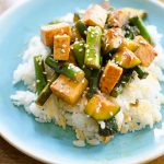 Asparagus, zucchini and tofu stir-fry