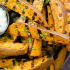 Grilled sweet potato wedges with cumin and cilantro. | livinglou.com